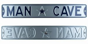 Dallas Cowboys Man Cave Officially Licensed Authentic Steel 36x6 Silver & Navy Blue NFL Street Sign-0