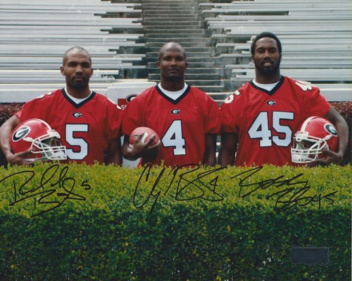 Champ, Boss, &amp Ronald Bailey Autographed/Signed Georgia Bulldogs 11x14 NCAA PhotoBehind the Hedges&quot-0