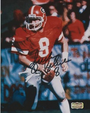 Buck Belue Autographed/Signed Vintage Georgia Bulldogs 8x10 NCAA Photo Red Jersey-0