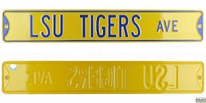 Louisiana State LSU Tigers Avenue Officially Licensed Authentic Steel 36x6 Purple & Gold NCAA Street Sign-0
