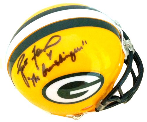 Brett Favre Autographed/Signed Green Bay Packers Riddell Mini Helmet with The Gunslinger Inscription-0