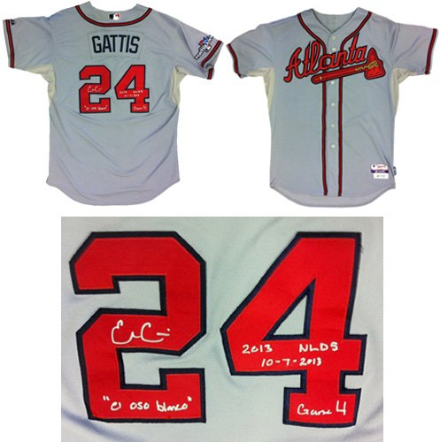 """Evan Gattis Autographed/Signed Game Used Atlanta Braves Road Playoff Majestic Jersey with """"El Oso Blanco"""" & """"2013 NLDS 10-7-2013 Game 4"""" Inscriptions-0"""