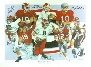 Georgia Bulldogs Multi-Autographed/Signed Heroes of the Hedges 24x18 Limited Edition of 1000 Print with 7 Signatures-0