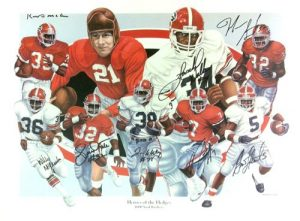 "Georgia Bulldogs Multi-Autographed/Signed Heroes of the Hedges"" 24x18 Limited Edition of 1000 Print with 8 Signatures-0"
