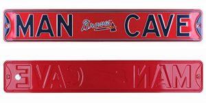 Atlanta Braves Man Cave Officially Licensed Authentic Steel 36x6 Red & Navy Blue MLB Street Sign-0