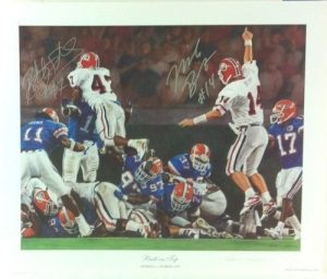 """Mike Bobo & Robert Edwards Autographed/Signed Classic Noah Stokes 15x12 NCAA Print Silver Ink """"Back on Top""""-0"""