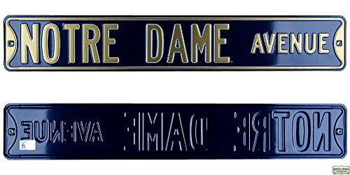 Notre Dame Fighting Irish Avenue Officially Licensed Authentic Steel 36x6 Navy Blue & Gold NCAA Street Sign-0