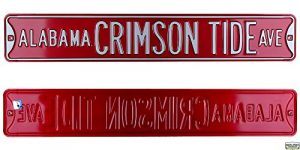 Alabama Crimson Tide Avenue Officially Licensed Authentic Steel 36x6 Crimson & White NCAA Street Sign-0