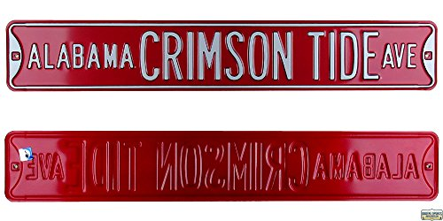 Alabama Crimson Tide Avenue Officially Licensed Authentic Steel 36x6 Crimson & White NCAA Street Sign-0