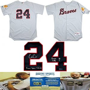 """Evan Gattis Autographed/Signed Game Worn Atlanta Braves Road Throwback Chief Noc-a-homa Authentic MLB Jersey with """"Game Worn 7-13-14"""" & """"Braves 10 Cubs 7"""" Inscription-0"""