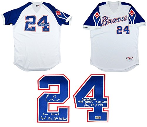 2b2b1f03 Evan Gattis Autographed/Signed Game Issued Atlanta Braves Throwback Hank  Aaron Style Majestic Authentic MLB