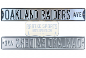 Oakland Raiders Avenue Officially Licensed Authentic Steel 36x6 Silver & Black NFL Street Sign-0