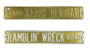 Georgia Tech Ramblin' Wreck Raod Officially Licensed Authentic Steel 36x6 Yellow & White NCAA Street Sign-0