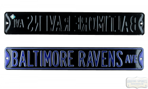 Baltimore Ravens Avenue Officially Licensed Authentic Steel 36x6 Black & Purple NFL Street Sign-0