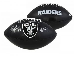 """Ray Guy Signed Oakland Raiders NFL Black Embroidered Football With """"HOF 2014"""" Inscription-0"""