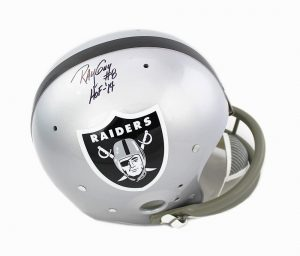 "Ray Guy Signed Oakland Raiders Full Size TK Suspension NFL Helmet With ""HOF 2014"" Inscription-0"