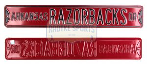 Arkansas Razorbacks Avenue Officially Licensed Authentic Steel 36x6 Red & Black NCAA Street Sign-0