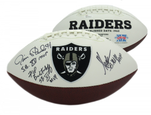 "Marcus Allen, Fred Biletnikoff, Jim Plunkett Signed Raiders Logo Football with ""MVP"" Inscriptions-0"
