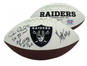"Marcus Allen, Fred Biletnikoff, Jim Plunkett Signed Raiders Logo Football with ""MVP"" Inscriptions-0"