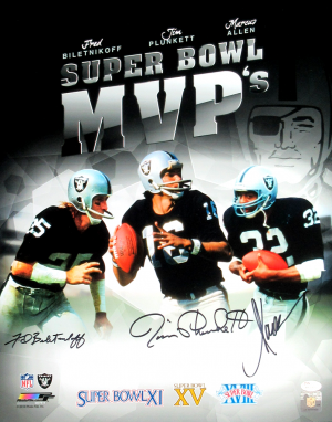 Marcus Allen, Fred Biletnikoff & Jim Plunkett Autographed/Signed Oakland Raiders 16x20 Photo - JSA-0