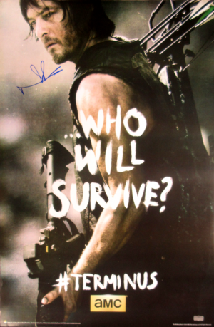 """Norman Reedus Signed The Walking Dead Terminus """"Who Will Survive"""" Full Size Poster-0"""