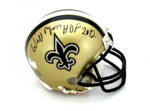 "Willie Roaf Signed New Orleans Saints Riddell NFL Mini Helmet with ""HOF 2012"" Inscription-0"