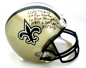 Willie Roaf Signed New Orleans Saints Riddell Full Size NFL Helmet with Career Stats Inscription-0