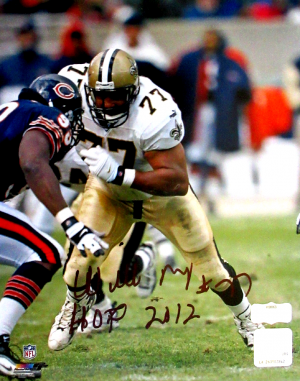 "Willie Roaf Signed New Orleans Saints 8x10 NFL Photo with ""HOF 2012"" Inscription - vs Bears - Black Ink-0"