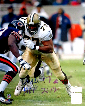 "Willie Roaf Signed New Orleans Saints 8x10 NFL Photo with ""HOF 2012"" Inscription - vs Bears - Blue Ink-0"