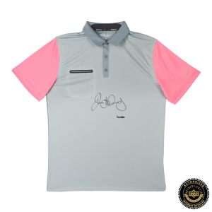 Rory McIlroy Signed Grey, Pink & Silver Nike Polo Shirt - LE-0