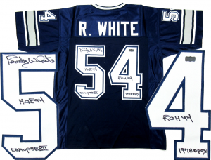 Randy White Signed Dallas Cowboys Blue Cowboys Custom Jersey with Career Stats Inscriptions-0