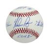 Nolan Ryan Autographed/Signed Texas Rangers Rawlings Major League Baseball with Career Stats Inscription-13570