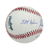 Nolan Ryan Autographed/Signed Texas Rangers Rawlings Major League Baseball with Career Stats Inscription-13568