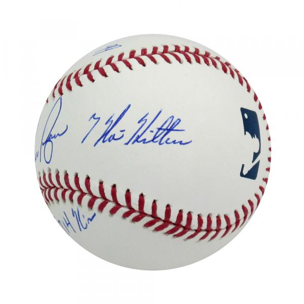Nolan Ryan Autographed/Signed Texas Rangers Rawlings Major League Baseball with Career Stats Inscription-13572