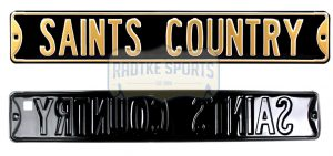 "New Orleans Saints ""Saints Country"" Officially Licensed Authentic Steel 36x6 Black & Gold NFL Street Sign-0"
