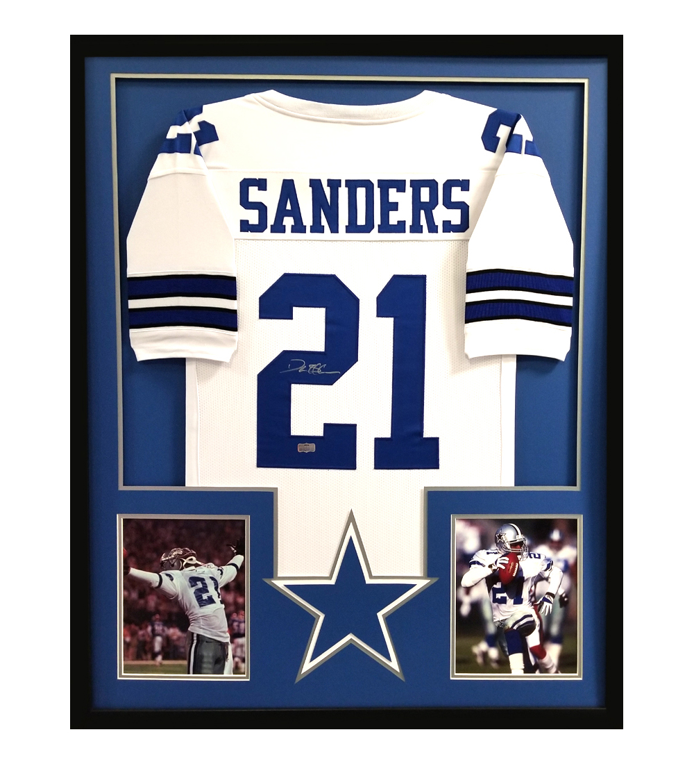 official photos dd655 c6a5a Deion Sanders Signed Framed Dallas Cowboys White Custom Jersey