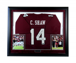 "Connor Shaw Signed South Carolina Gamecocks Framed Custom Jersey with ""17-0 Home Record"" Inscription-0"