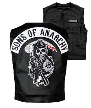 Sons Of Anarchy Officially Licensed Black Redwood Original Samcro Biker Vest With Reaper Patch - Medium-0