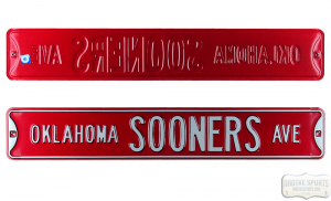 Oklahoma Sooners Avenue Officially Licensed Authentic Steel 36x6 Red & White NCAA Street Sign-0