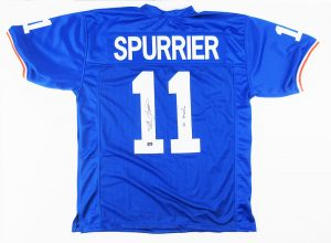 "Steve Spurrier Signed Florida Gators NCAA Blue Custom Jersey with ""66 Heisman"" Inscription-0"