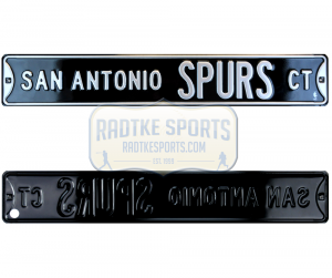 San Antonio Spurs Court Officially Licensed Authentic Steel 36x6 Black & Silver NBA Street Sign-0