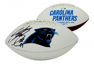 Steve Smith Sr Signed Carolina Panthers Embroidered NFL Logo Football-0