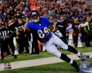 Steve Smith Sr Signed Baltimore Ravens 8x10 NFL Photo - Stretch-0