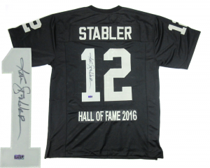 Ken Stabler Signed Oakland Raiders Black Custom Home Jersey with Hall of Fame Embroidery-0