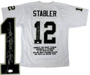 "Ken Stabler Signed Oakland Raiders White Custom Jersey with ""Snake"" Inscription & Career Highlights Embroidery-0"
