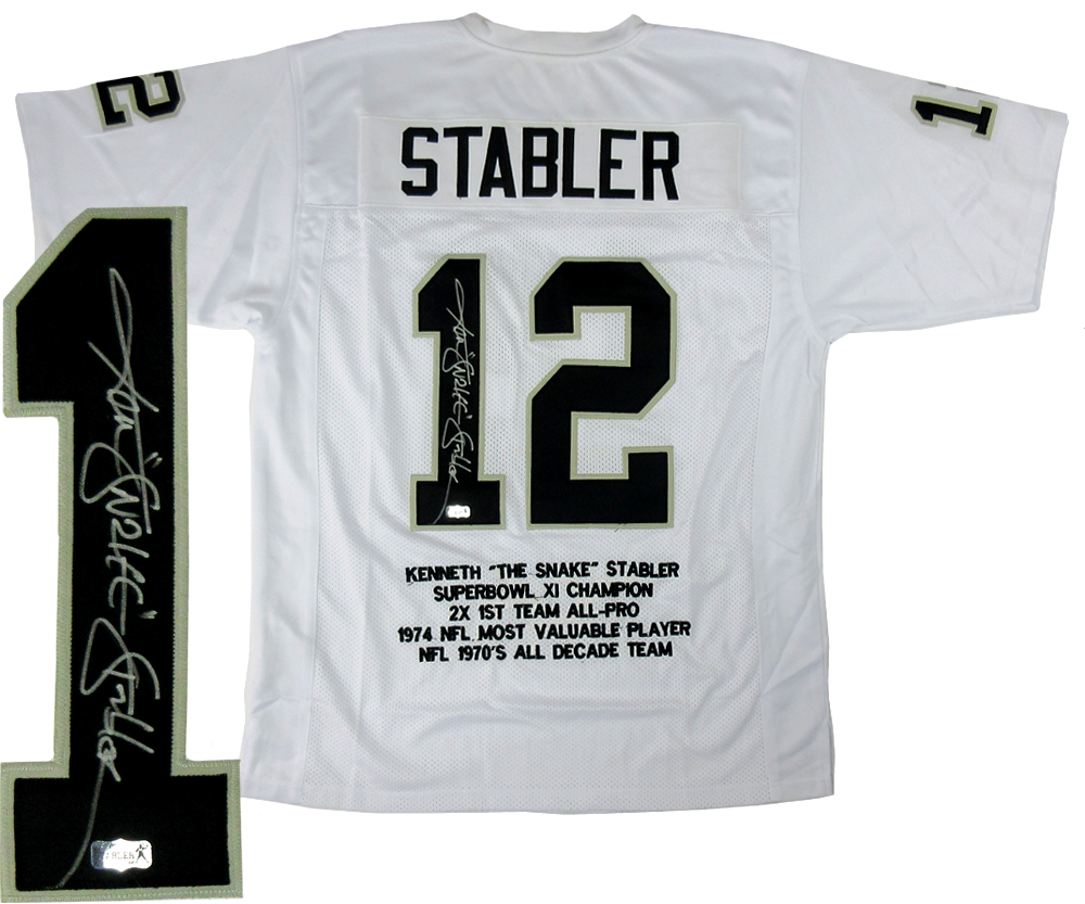 newest 7a465 0a43f Ken Stabler Signed Oakland Raiders White Custom Jersey with