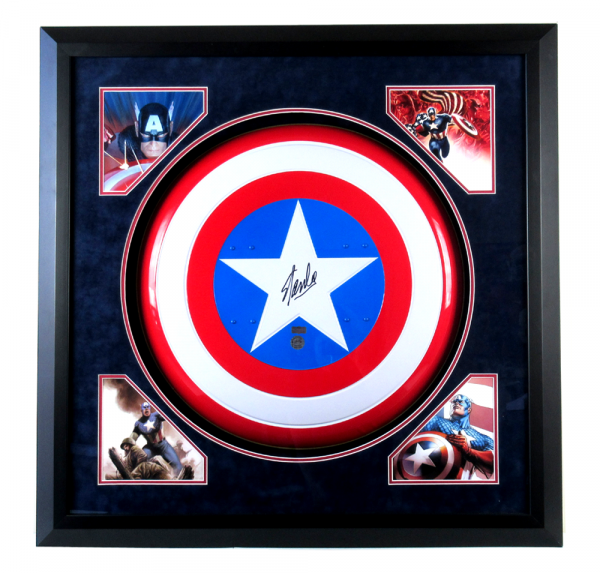 Stan Lee Signed Framed Vintage Metal Captain America Shield with Deluxe Matte-0