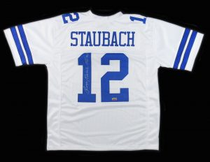 "Roger Staubach Signed Dallas Cowboys White Custom Jersey With ""SB VI MVP"" Inscription-0"