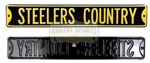 """Pittsburgh Steelers """"Steelers Country"""" Officially Licensed Authentic Steel 36x6 Black & Gold NFL Street Sign-0"""