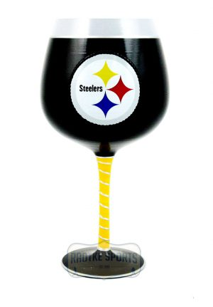 Pittsburgh Steelers Officially Licensed NFL Artisan Hand-Painted Stemware Glass-0